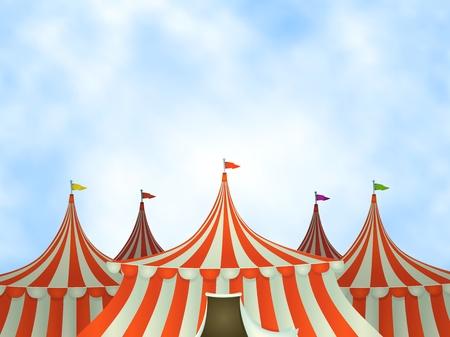 Ilustracja namiotach cyrkowych kreskówek na niebieskim tle nieba