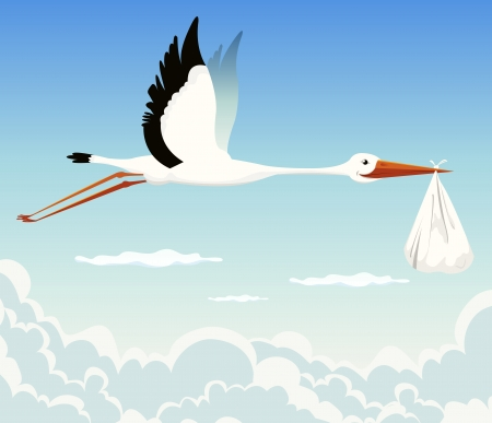 Illustration of a stork delivering baby in a bag for birth announcement, newborn holidays celebration and anniversaries