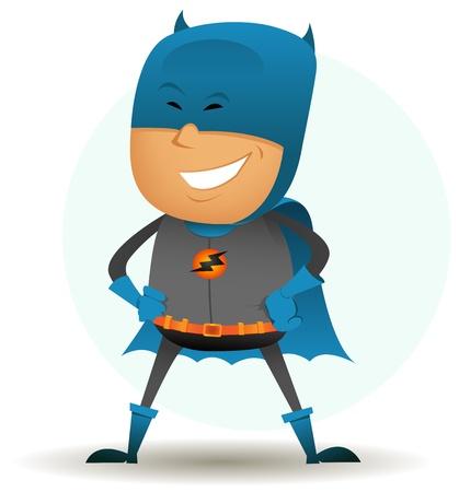 vendicatore: Illustrazione di un buffo personaggio supereroe fumetto con travestimento grigio e blu in piedi con orgoglio