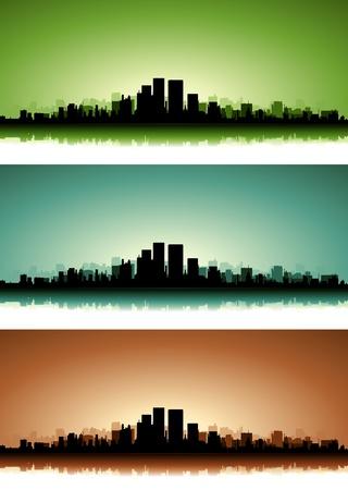 녹색, 파란색과 갈색 버전과 여름 일출 또는 일몰에 도시의 고층 빌딩의 컬렉션의 그림 일러스트