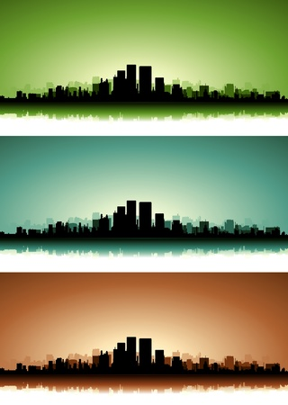 new horizons: Illustration of a collection of city skyscrapers on the summer sunset or sunrise with green, blue and brown versions