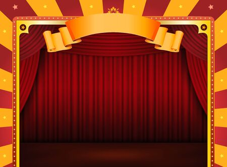 Illustration of an horizontal retro red and yellow circus background with stage and red curtains for arts events and entertainment background illustration