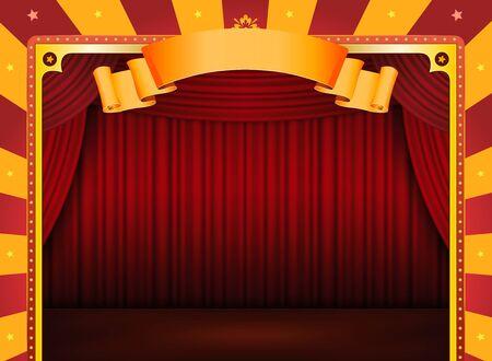 fondo de circo: Ilustraci�n de un fondo retro horizontal de circo rojo y amarillo, con escenario y cortinas rojas de eventos art�sticos y de entretenimiento de fondo Foto de archivo