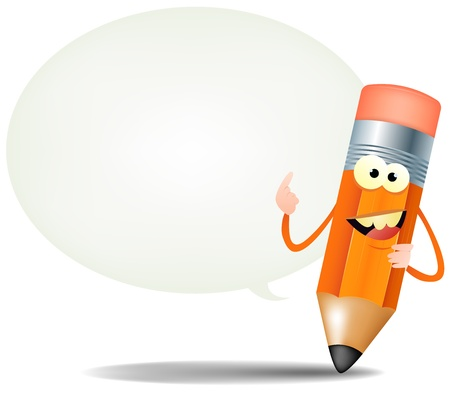 Illustration of a funny cartoon pencil icon smiling and showing blank space inside a speech bubble for your custom advertisement Vector