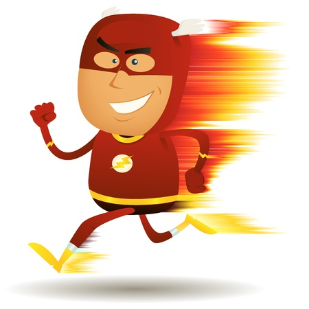 Illustration of a cartoon happy super hero running faster than a ligthning bolt with visual speed effect