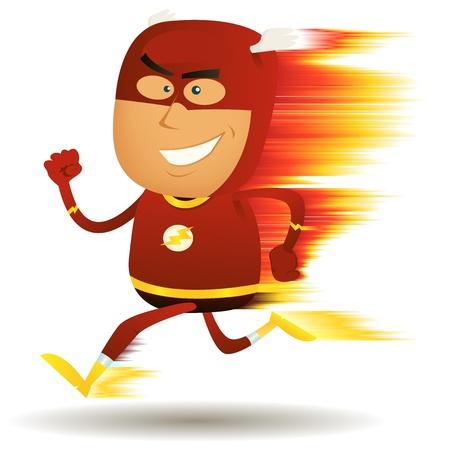 super human: Ilustraci�n de un s�per h�roe de dibujos animados feliz corriendo m�s r�pido que un rayo ligthning con efecto visual de la velocidad
