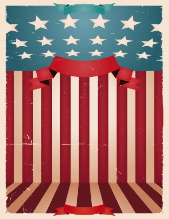 Illustration of an american national holiday background for fourth of july, memorial or flag day and any national holiday celebration