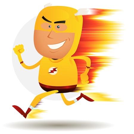 pernos: Ilustración de un súper héroe de dibujos animados feliz corriendo más rápido que un rayo ligthning con efecto visual de la velocidad