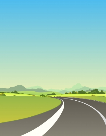 Illustration of a summer or spring highway road driving to mountains landscape for vacations and travel background
