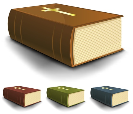 liturgy: Illustration of a collection of old holy bible books in brown leather, blue, red and green cover Illustration
