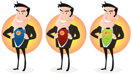 Illustration of a set of cartoon businessman showing his superhero disguise behind his clothes Vector