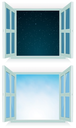 view window: Illustration of a home open window with day and night sky background