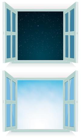 ventana abierta: Ilustración de una ventana de su casa abierta con el día y la noche el cielo de fondo