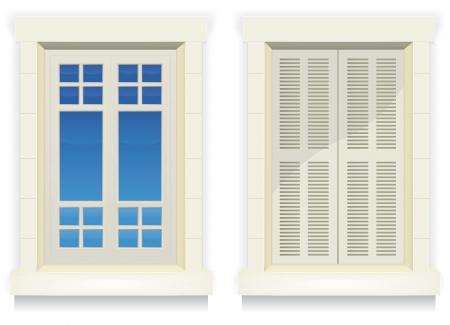 Illustratie van gescheiden buitenkant huis ramen met en zonder gesloten flap