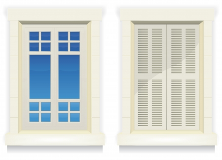 Illustration of separated exterior home windows with and without closed flap Vector