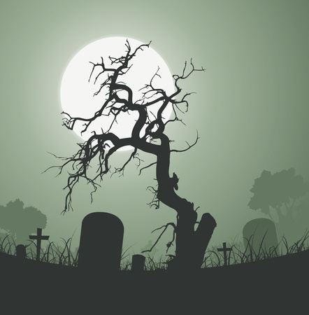 Illustration of a halloween frightening weird dead tree inside graveyard  with tombstones and a full moon in the background Vector