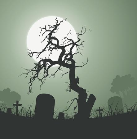 Ilustración de un árbol de Halloween asusta raro muerto dentro de cementerio con lápidas y una luna llena en el fondo