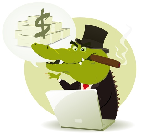 scam: Illustration of a funny cartoon crocodile crook trader buying and selling and promising lot of money