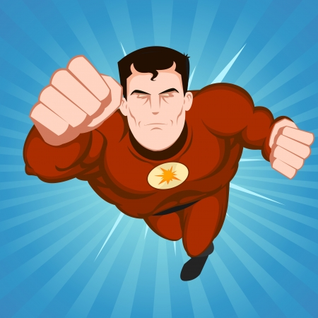 Illustration of a flying comic superhero character with red disguise on a blue beams background Vector