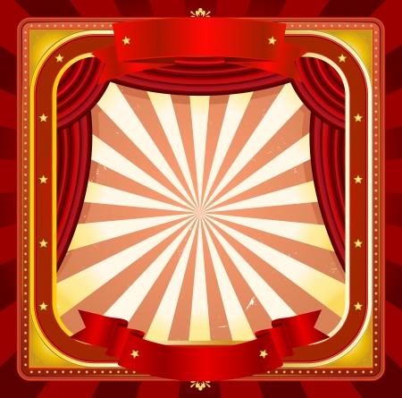 cabaret: Illustration d'un fond de cirque ch�ssis carr�, avec des banni�res, des rideaux rouges et divers ornements brillants et or pour des �v�nements artistiques et de divertissement arri�re-plan