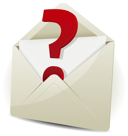 Illustration of an email icon envelope with question mark symbol over white background for contact symbol use, with glossy effect