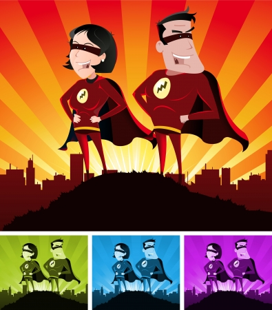 Illustration of a cartoon super hero man and woman standing proudly with the cityscape over the sunlight beams