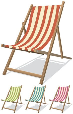 Illustration of a collection of beach chairs for summer vacations relaxation and holidays on the beach