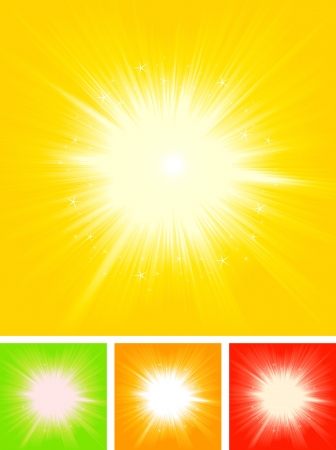 sunbeam: Illustration of a collection of four abstract summer shiny starburst for summer holidays