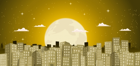 Illustration of a gold cartoon big city with cityscape background at night and full moon behind Stock Vector - 14349491