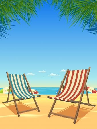 seagulls: Illustration of a summer tropical background with beach chairs and sunshades for vacations and holidays