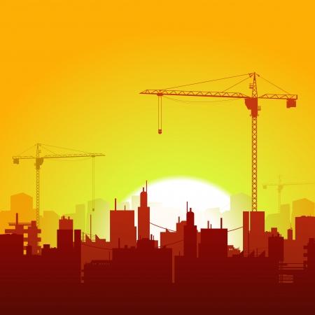 vinçler: Sanayi, gayrimenkul ve inşaat arka planlar için vinçler siluetleri, fabrika ve gökdelenler ile bir yaz cityscape İllüstrasyon