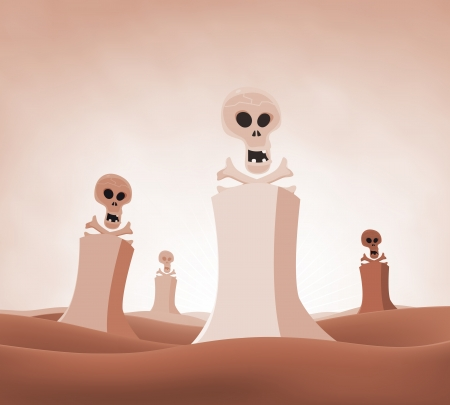 Illustration of a devastated desert nuclear landscape with skulls and cross bones coming out from reactors, symbolizing death, pollution and environment damages Stock Vector - 14404386