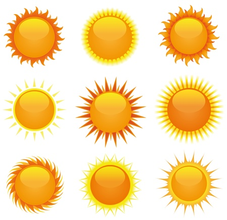 Illustration of a collection of cartoon summer shiny suns Stock Vector - 14480012