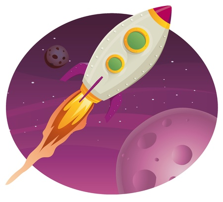 Illustration of a rocket ship flying through outer space among planets and stars