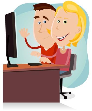 computadora caricatura: Ilustraci�n de una pareja de dibujos animados feliz de padre y madre, navegando por la red o trabajar en una computadora de escritorio