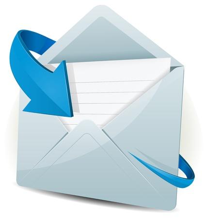 Illustrazione di una casella di posta elettronica icona di una busta di ricezione con freccia blu in orbita attorno, per contattarci e simboli di feedback