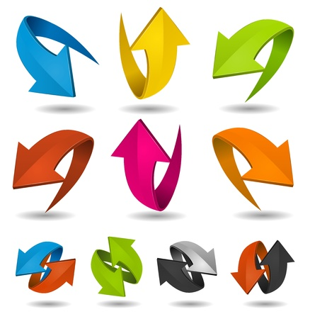 forward arrow: Illustration of a collection of abstract glossy dynamic arrows on white   background, for connection, recyclable and refresh symbols Illustration