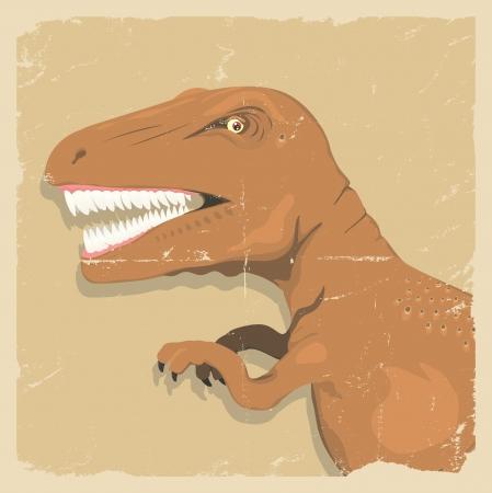 cartoon dinosaur: Illustration of a big prehistoric tyrannosaurus vintage background  poster Illustration