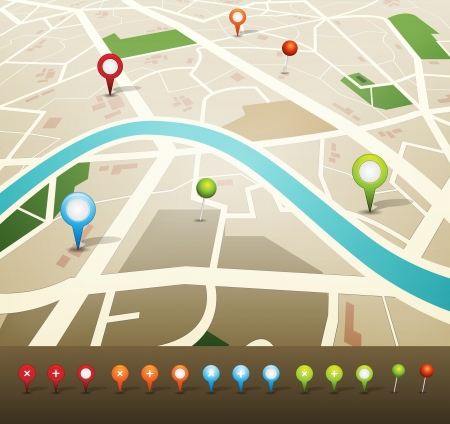 pin: Illustration of a city map with gps icons Illustration