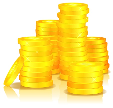 golden coins: Illustration of money, with cartoon golden stacks of coins, in dollar  currency