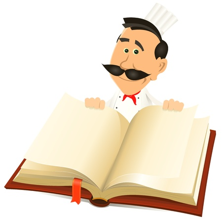 recipe book: Illustration of a cartoon chef cook character holding a white book for restaurant menu