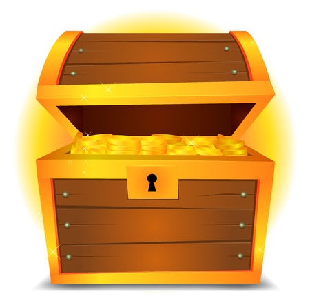 coffer: Illustration of a cartoon treasure chest with gold coins