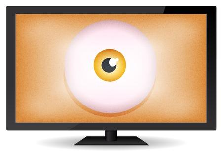 flat screen tv: Ilustraci�n de un ojo de dibujos animados hermano mayor dentro de una televisi�n de pantalla