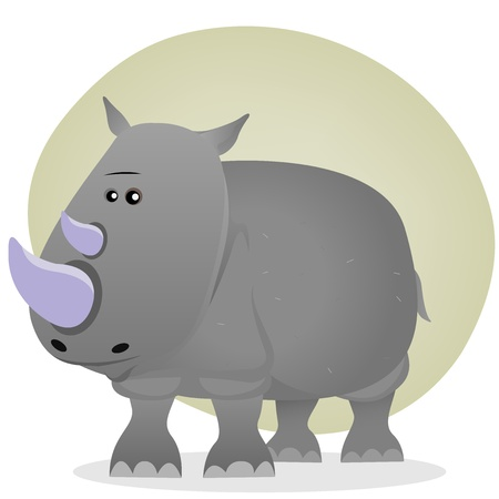 Illustration of a tiny cartoon grey rhinoceros from savannah Vector