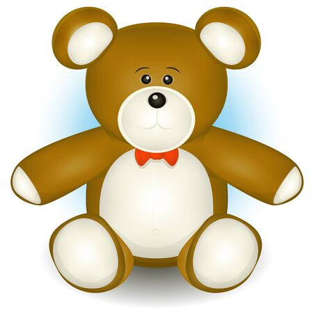 plush: Illustration of a cartoon cute classic teddy bear plush toy Illustration