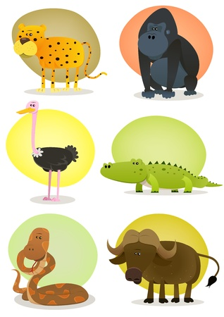 Illustration of a set of cartoon wild animals from african savannah, including cheetah, gorilla, ostrich, crocodile, snake and buffalo Vector