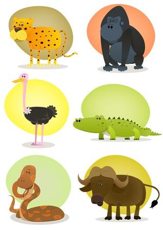 struś: Ilustracja zestaw cartoon dzikich zwierząt z afrykańskiej sawanny, w tym gepard, goryl, strusia, krokodyla, węża i bawołów Ilustracja