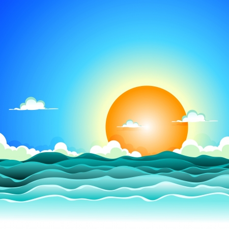Illustration of a cartoon ocean waves background for spring or summer holidays vacations
