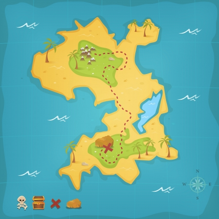Illustration of a cartoon treasure island and its map, with skull and cross bones, pirate chest and compass Illustration
