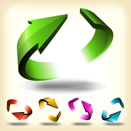 Illustration of a collection of abstract glossy dynamic arrows circles, symbols of connection, recycle, refresh or endless movement Illustration
